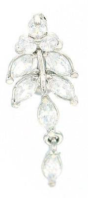Belly Button Ring Leaves CZ Top Down Fancy Navel Ring w/ Titanium Shaft/Rhodium
