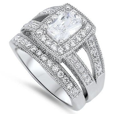 STERLING SILVER RING W/CZ - Wedding Set