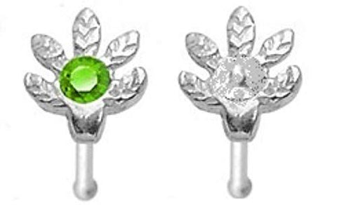 Body Accentz .925 Sterling Silver Nose Stud with Marijuana Pot Leaf Clear and Gr
