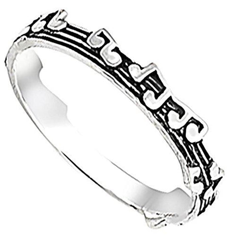 Body Accentz Sterling Silver Ring - Music Notes 3mm Band Rings