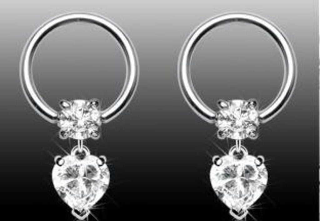 Nipple Ring Heart Dangle Captive Bead Body Jewelry Pair 16 gauge HOC07