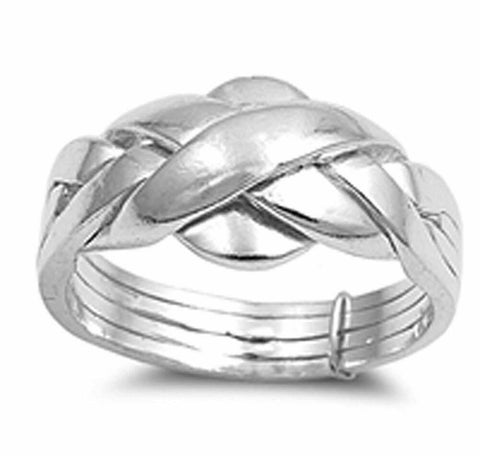 .925 Sterling Silver Puzzle Braid New Ring Polished 925 Band 11mm Sizes 5-15