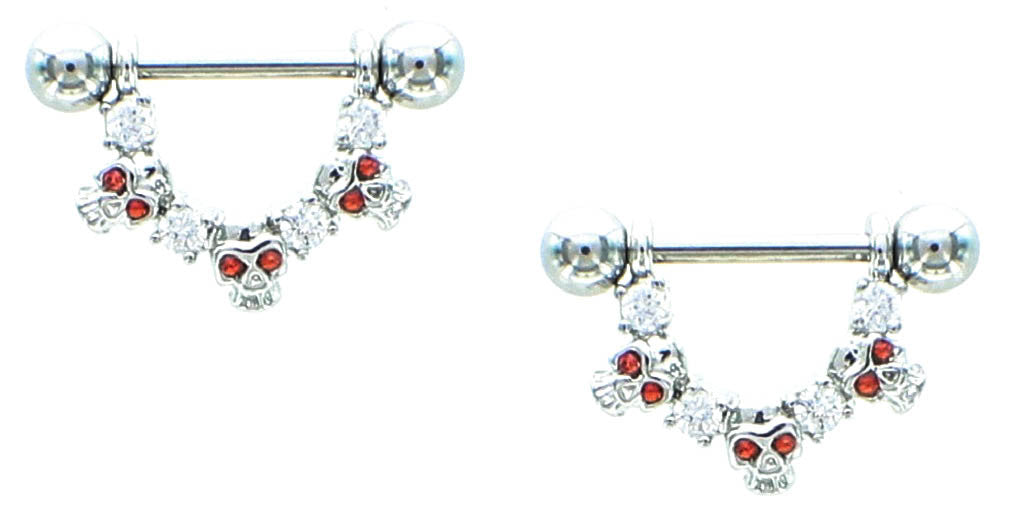 Nipple Shield Rings barbell barbells Skull and CZ sold as a pair 14 gauge