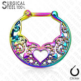 Septum Heart Laced All 316L Surgical Steel Septum Clicker 16g
