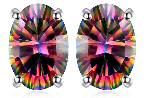1.5ct Natural Fire Rainbow Mystic Topaz Stud Earrings Oval 925 Sterling Silver
