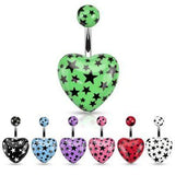 Belly Button Ring Heart Navel Ring - Acrylic Heart Multi Star Print 14g 3/8''
