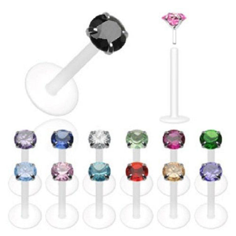 Bio-Flex Shaft with Push-in .925 Silver Prong Gem Labret/Monroe 14g 3/8''
