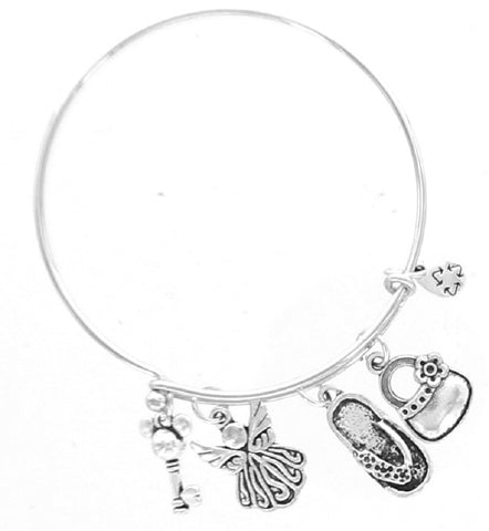 Angel Pocketbook Purse Skeleton key Flipflop  Expandable Bangle Bracelet