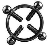 Body Piercing Breast Nail Screw Bell Fake Nipple Ring Jewelry Stainless steel - Black