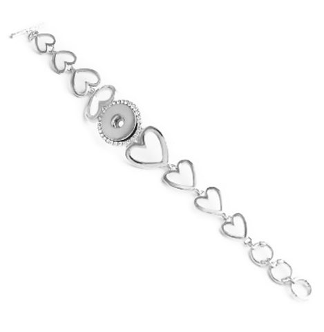 18mm Crystal snap button jewelry Bangle Bracelet Love you to the moon Heart Free snap