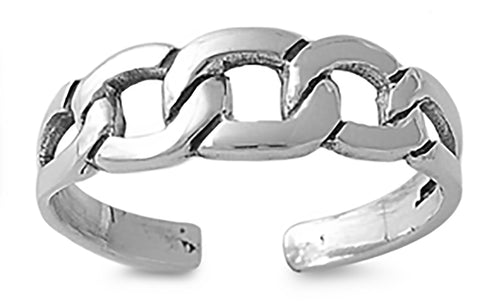 .925 Sterling Silver Toe Ring -    Chain Link