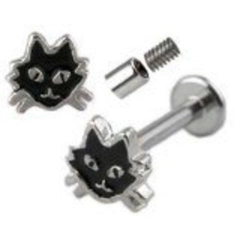 Black Cat Labret Monroe body jewelry piercing lip chin tragus 14g