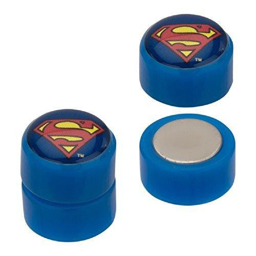 Earrings Rings Magnetic Acrylic Faux Plugs with Superman Logo Fronts. Sold as a pair