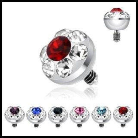 316L Surgical Steel Internally Threaded 4mm Multi Gem Ferido Dermal Top 14g