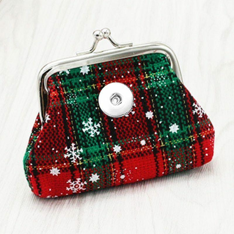 Christmas 18MM Snap Buttons Jewelry Coin Purses Small Wallets Pouch Money