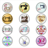 I LOVE SEWING  glass snap button jewelry DIY jewelry  Round photo cabochons 18mm