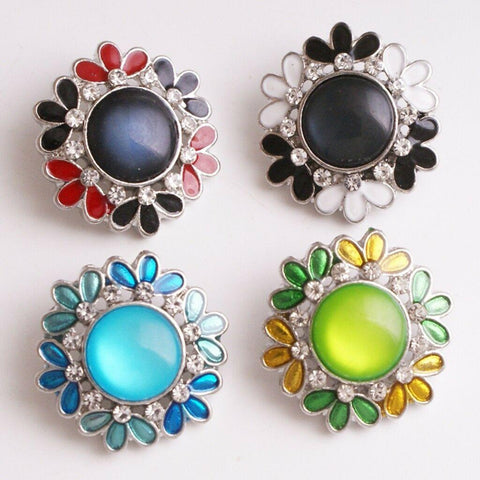 18mm  flower  crystal Metal Snap button jewelry Flower crystal