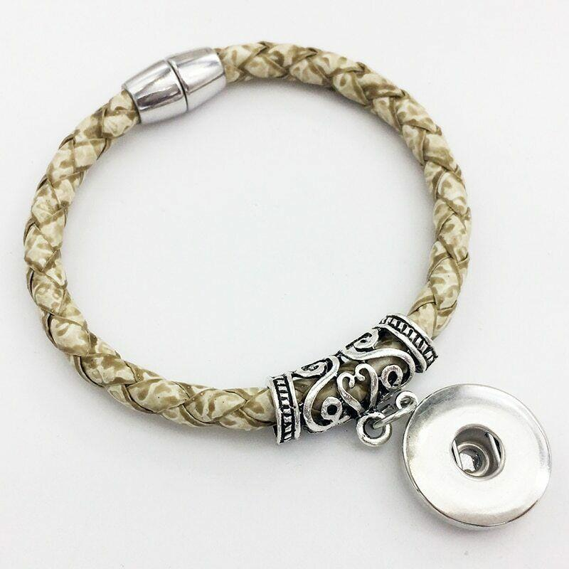 Weaving high quality PU leather 18mm snap button bracelet  Magnetic clasp