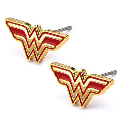 Stainless Steel Post with Wonder Woman Logo Stud Earrings [Jewelry]