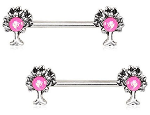 316L Stainless Steel Pink Synthetic Opal Tree of Life Family Nipple Bar 14g Pair