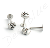 Surgical Steel LABRET PAW PRINT Attachment SCREW ON TOP Lip Tragus Bar Stud