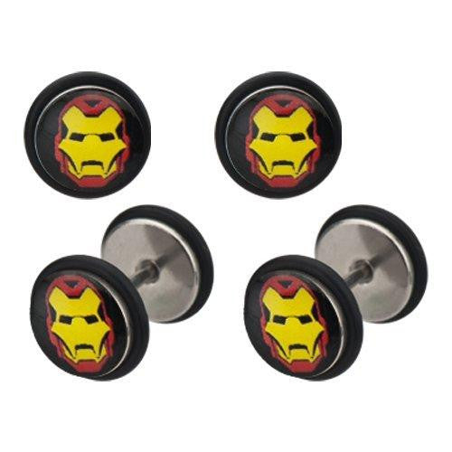 Earrings Rings Fake Iron Man Cheater Plug 18 gauge - Sold as a pair Ironman