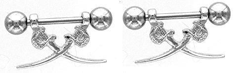 Nipple Shield Rings small barbell sword sold as a pair 14 gauge 3/8