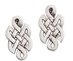 Elongated Celtic Knot Post Sterling Silver Stud Earrings [Jewelry]