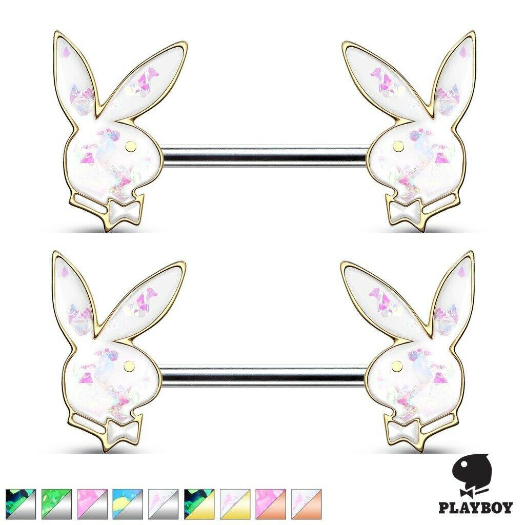 Opal Glitter Stainless Steel Crystal Paved Playboy Bunny Ends 14g nipplerings