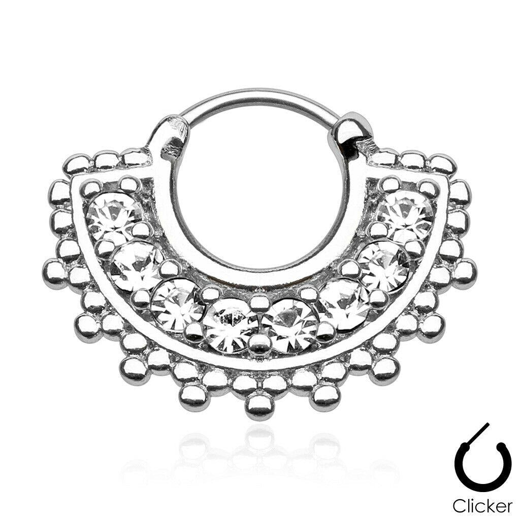 Large Paved Gem Fan 316L Surgical Steel Septum Clicker (Sold by Piece)