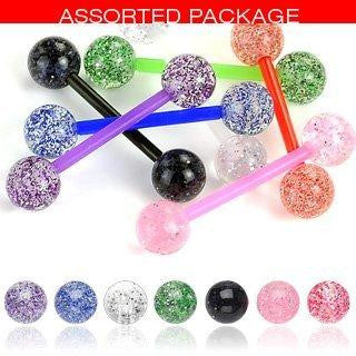 Body Colorz 6 Flexible Ultra Sparkle Sparkle Acrylic Tongue Ring 14g - In Assorted Colors