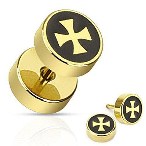 Body Accentz� Earrings Rings Gold IP Over 316L Surgical Steel Iron Cross ...