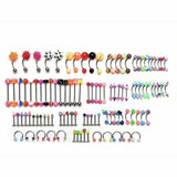 105Pcs Body Jewelry Eyebrow Navel Belly Button Lip Tongue Nose Piercing Bar Ring