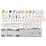 100Pcs Body Jewelry Eyebrow Navel Belly Button Lip Tongue Nose Piercing Bar Ring