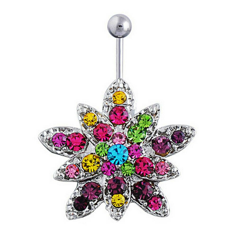 Rhinestone Flower Body Accent Piercing Stainless Steel Belly Ring Navel Bar Ring