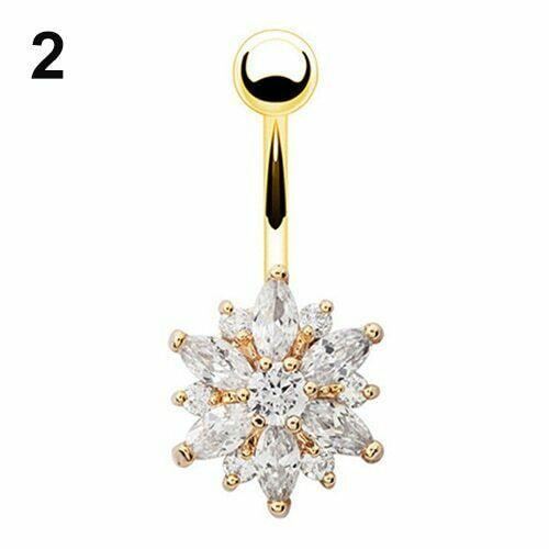 Flower Cubic Zirconia Belly Button Ring Navel Bar Barbell Body Piercing Jewelry