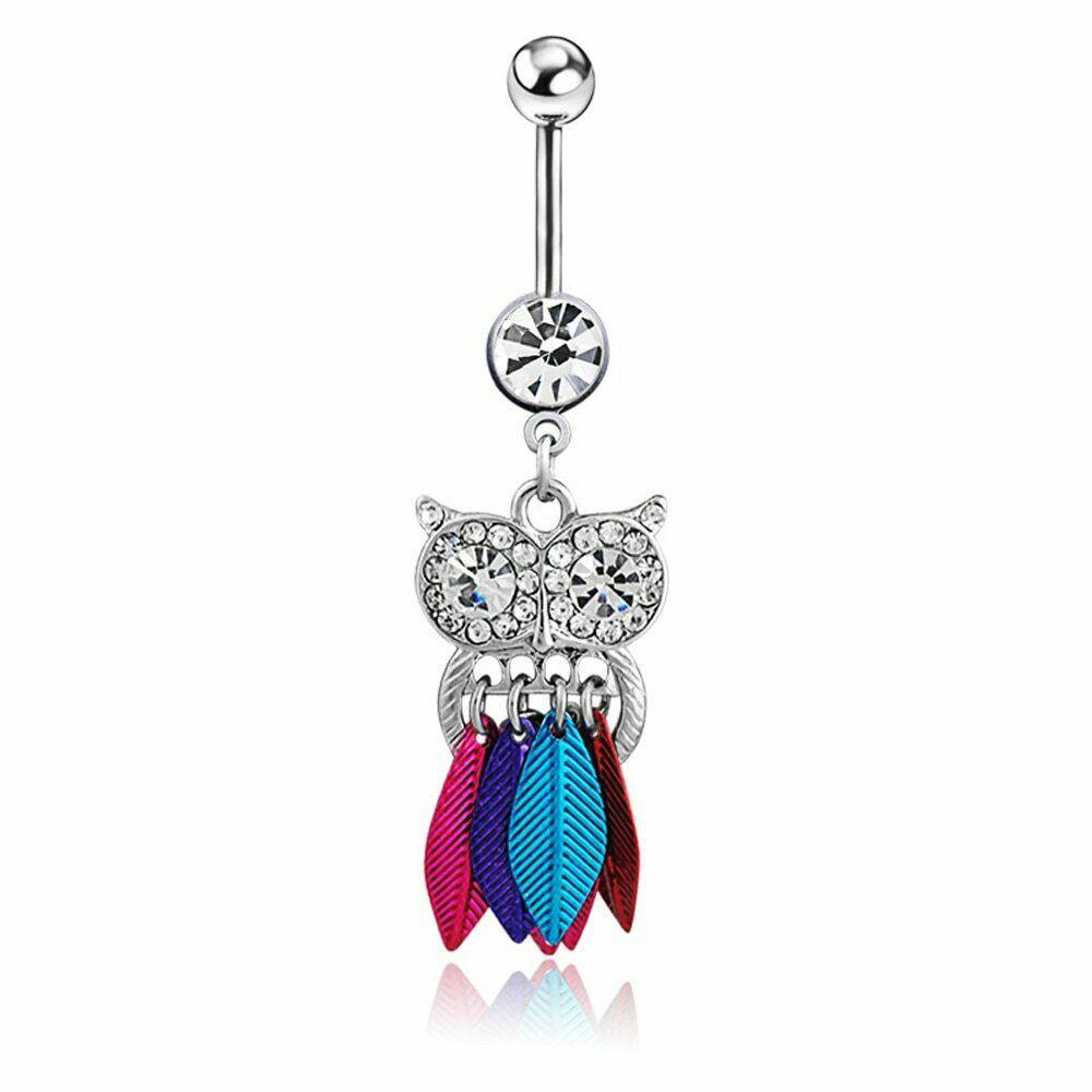 Owl Navel Belly Button Ring Piercing Surgical Steel Bars Body Accentz Jewelry