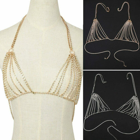 Body Chain Harness Belly rhinestone Bra Chest Bikini Beach Jewelry Body Accentz