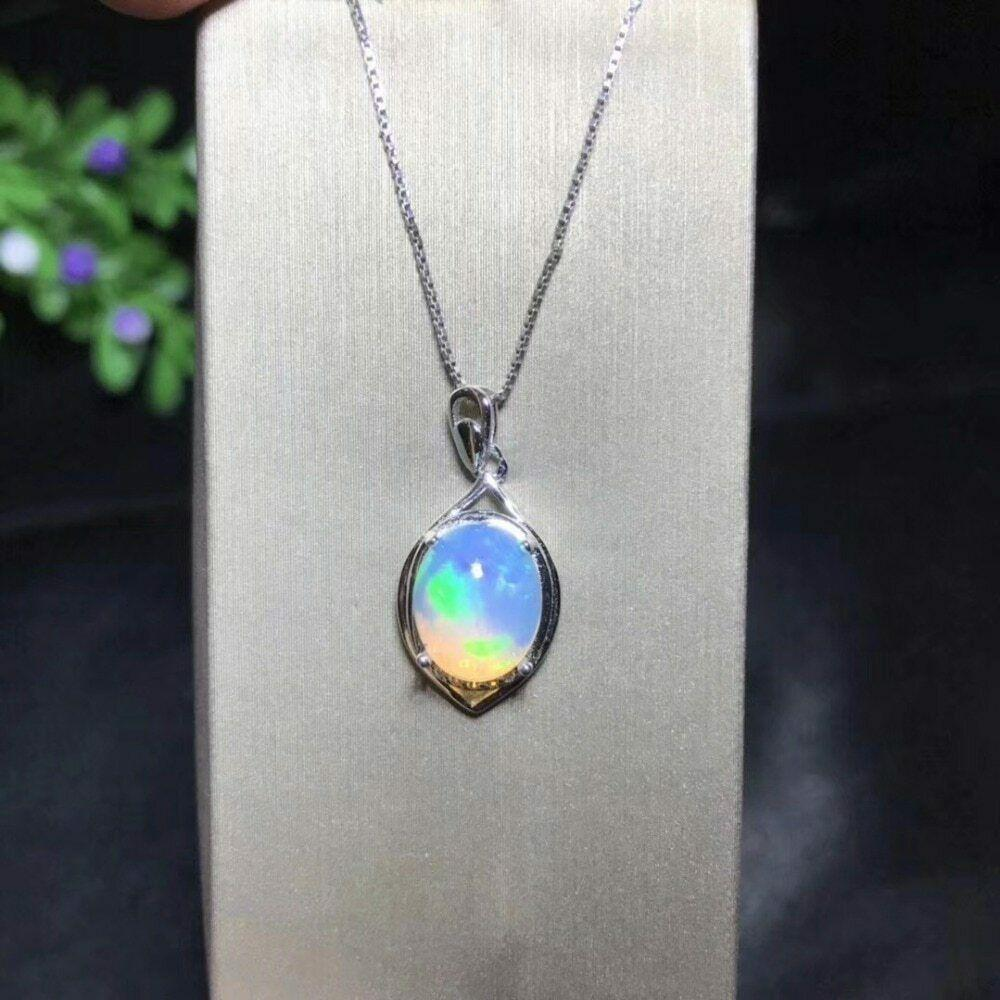 Fire Opal Pendant Necklace 925 Sterling Silver, 8*10mm Color Changing Gemstone