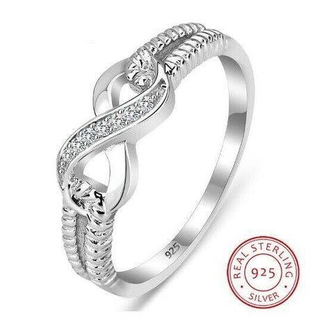 925 Sterling Silver Infinity Rings Endless Love Symbol Wedding Ring