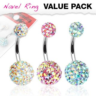 Body Accentz® Belly Button Ring Navel Assorted Aurora Borealis Crystal Ferido 316L Surgical Steel bar value pack Body Jewelry 14 Gauge