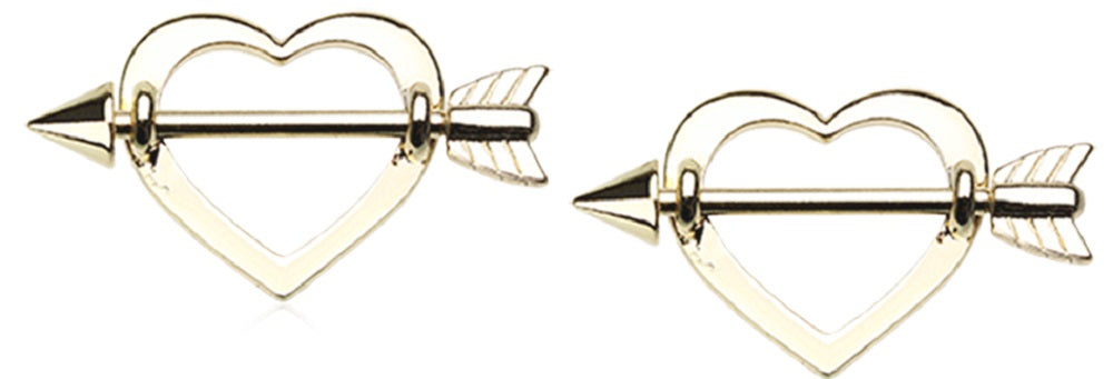 Nipple Bar Golden Cupid's Heart Arrow Nipple Shield Ring  Sold as pair