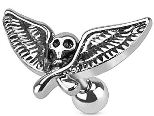 Winged Skull 316L Surgical Steel Cartilage Tragus Barbell [Jewelry]