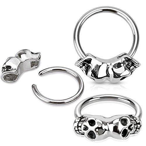 Nipple Ring win Skull 316L Surgical Steel Captive Bead Ring Pair [Jewelry]
