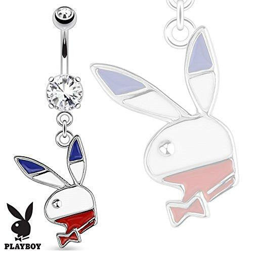 "Belly Button Ring ""Red, White, Blue"" Playboy Bunny Dangle 316L Surgical Steel Navel Ring 14g 3/8"" bar"