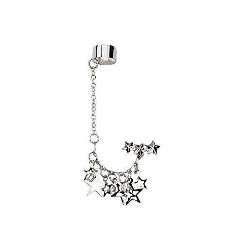 CZ Stud Chain Earring with Star Dangles and End Clip 316L Surgical Stainless ...