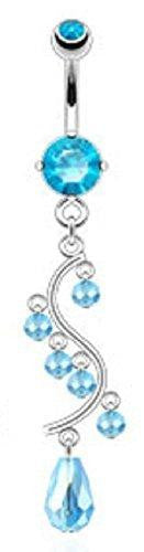 Belly button ring Faceted Beads Vine Dangle with 316L Surgical Steel Prong Set CZ Navel Topaz
