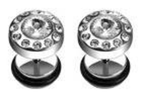 Body Accentz Earrings Rings Fake CZ Cheater Plug 16 gauge - Sold as a pair