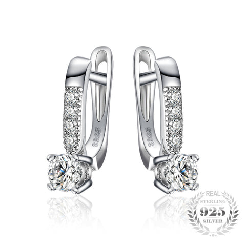 1ct Clip Earrings 925 Sterling Silver Wedding Anniversary Jewelry For Women Fashion Party Gift
