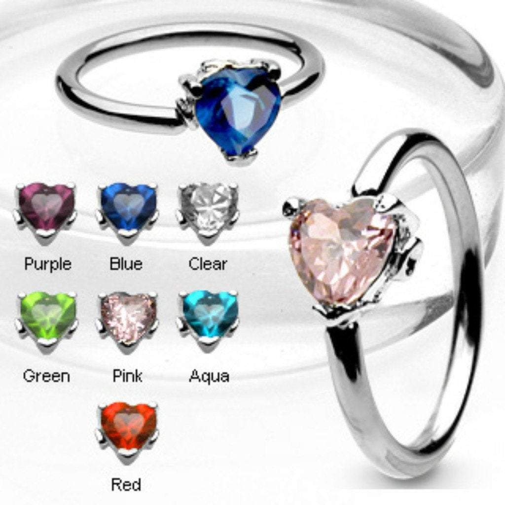 Nipple ring Solitaire Heart CZ Stone Capitve Bead Ring 316L Surgical Steel Pair